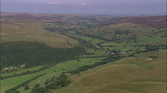 AERIAL United Kingdom-Swaledale And Muker Village Stock Footage