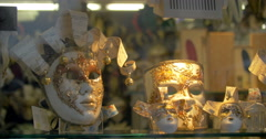 Fancy Venetian Carnival Masks Exposed on Shop Counter - stock footage