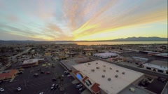 Townscape with Lake Havasu at autumn evening during sunset Stock Footage
