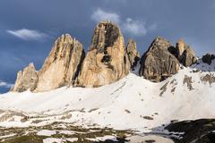 Tre Cime di Lavaredo or Drei Zinnen view from Col Forcellina Sexten Dolomites - stock photo