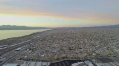 Panorama of Lake Havasu City at autumn evening during sunset Stock Footage