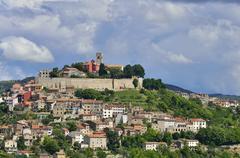 Atmospheric clouds over the town of Motovun Montona Mirna Valley Istria Croatia Stock Photos