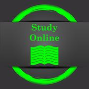 Stock Illustration of Study online icon. Internet button with green on grey background..