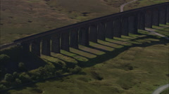 AERIAL United Kingdom-Ribblehead Viaduct Stock Footage