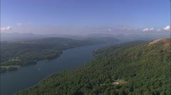 AERIAL United Kingdom-Lake Windermere Stock Footage
