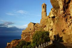 Cathedral of Sant Antonio Abate in the evening light Castelsardo Province of Stock Photos