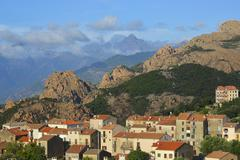 Stock Photo of Mountains of the Alta Rocca with the city of Sartene Corsica France Europe
