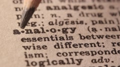 Analogy - Fake dictionary definition of the word with pencil underline Stock Footage