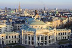 View from the observation tower on the Burgtheater and the city center during Stock Photos