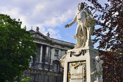 Monument to Wolfgang Amadeus Mozart in the Imperial Castle Garden Innere Stadt - stock photo
