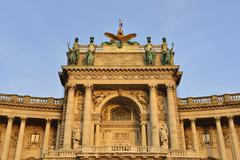 Hofburg Palace at Heldenplatz square in the evening light Innere Stadt district - stock photo