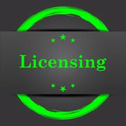 Stock Illustration of Licensing icon. Internet button with green on grey background..