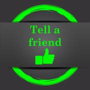 Stock Illustration of Tell a friend icon. Internet button with green on grey background..