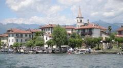 Lake Lago Maggiore, view on the island of Isola di Peskatore Stock Footage