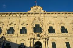 Baroque facade of the Auberge de Castille seat of the Prime Minister European - stock photo
