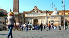 The Piazza del Popolo in Rome Stock Footage