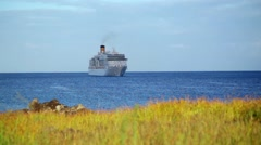 Cruise Ship Anchored Off Shore 02 HD Stock Footage