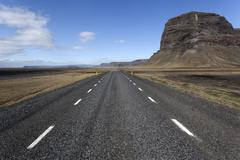 Road no 1 Ring Road in the south of Iceland near Nupsstadur Iceland Europe - stock photo