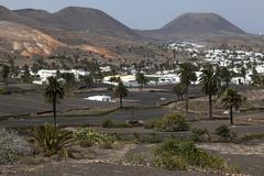 View of Haria palm trees lava fields two volcanoes at the back Lanzarote Canary Kuvituskuvat