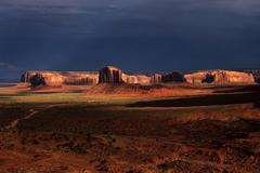 Rock formations in Monument Valley after a thunderstorm Navajo Park Arizona - stock photo