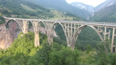 Time lapse Durdevica Bridge over Tara Canyon Stock Footage