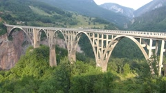 Durdevica Bridge over Tara Canyon Stock Footage