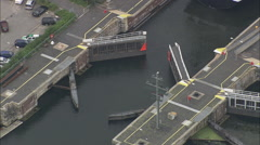 AERIAL Germany-Locks At East End Of Kiel Canal Stock Footage