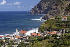 View on Porta da Cruz and cliffs Madeira Portugal Europe Stock Photos