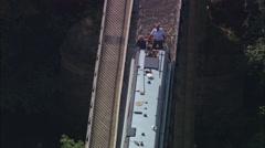 AERIAL United Kingdom-Pont-Cysylte Aqueduct Stock Footage