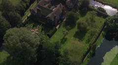 AERIAL United Kingdom-Little Moreton Hall Stock Footage