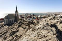 View of the Rock Church and the town Luderitz Namibia Africa - stock photo