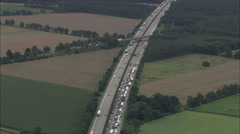 AERIAL Germany-Crash Site On E45 North Of Hanover Stock Footage