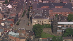 AERIAL United Kingdom-Macclesfield And Original Hovis Bread Mill Stock Footage