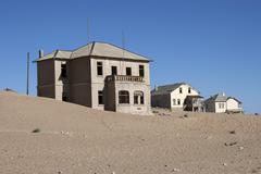 Old houses in the former diamond town now a ghost town Kolmanskop Kolmannskuppe Stock Photos