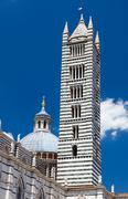 Detail of Siena cathedral in a sunny summer day, Tuscany, Italy Stock Photos