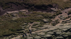 AERIAL United Kingdom-Kinder Downfall On Kinder Scout In Peak District Stock Footage