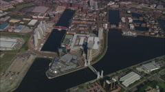 AERIAL United Kingdom-Salford Quays Stock Footage