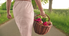 Woman holding a basket of vegetables in a park Stock Footage