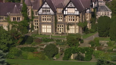 AERIAL United Kingdom-Bodnant Garden On The River Conway Stock Footage