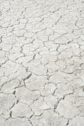 Desiccation cracks pattern of a dried up salt lake Putre Arica and Parinacota - stock photo
