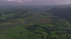 AERIAL United Kingdom-River Conway And Valley Near Estuary Stock Footage