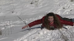 Sledging With A Snow Slide Stock Footage