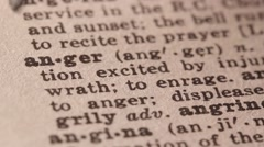 Anger - Fake dictionary definition of the word with pencil underline Stock Footage