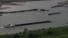 AERIAL Germany-Barges On The Rhine Stock Footage