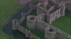 AERIAL United Kingdom-Beaumaris Castle Stock Footage
