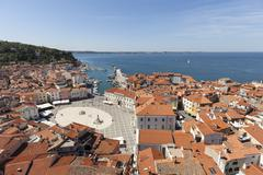 View of the historic centre with the harbour and Tartini Square Piran Istria Stock Photos