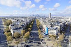 Stock Photo of Views of La Defense and the Avenue des Champs Elysees the Arc de Triomphe