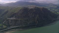 AERIAL United Kingdom-Llanfairfechan & Penmaen Mawr (Quarry) Stock Footage