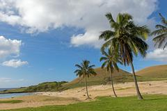 Beach of Anakena Rapa Nui Easter Island Chile South America Stock Photos