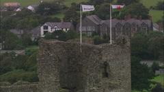 AERIAL United Kingdom-Criccieth Castle Stock Footage